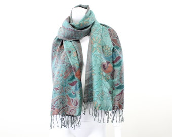 throw-shawl-jacquard-paisley-turquoise-beige-brown-teal-double sided-pure soft wool-xl-extra large-throw-mauve-floral