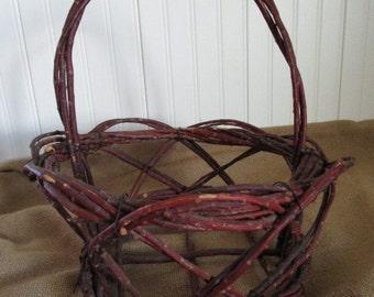 Vintage Twiggy Basket  Grapevine Basket  Hand Made