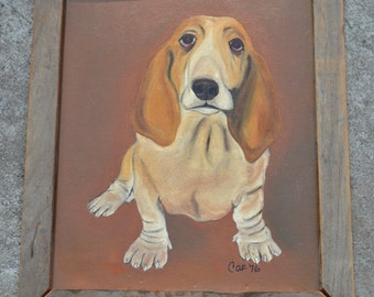 Ain't Nothin' But a Hound Dog Bassett Hound Painting in Rustic Wood Frame from 1976, Wall Art