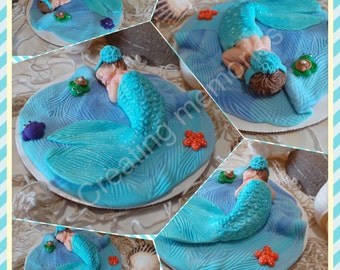 Baby  Mermaid Cake Topper /Cupcake, Cookies, Cake Decorations made of Vanilla Fondant BABY  SHOWER/Edible Cake Toppers/ First  birthday