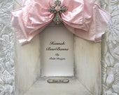 Baby Frame Religious Bow White Pink Cross Jewel Personalize Baptism Christening First Christmas EXTRA WIDE