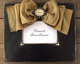 Picture Frame with Bow Jewel Personalize Christmas Gift Ebony Family Wedding Baby Customize