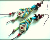 Tribal, Artisan Polymer Clay, Funky, Colorful, Beaded Earrings, Boho, Rustic, OOAK, Primitive, Red Green Blue