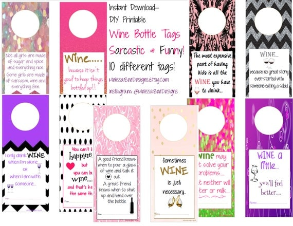instant download diy printable wine tag by melissabeedesigns