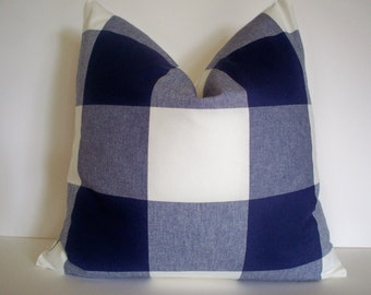 Navy Check Pillow Cover Blue Indigo Check Buffalo Check Large Blue Check P Kaufmann Pillow
