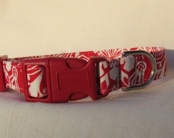Fabric Dog Collar -red and cream floral - SMALL