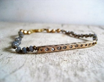 Bronze and cz bar beaded bracelet with faceted Czech opaline glass beads