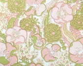 Vintage Wallpaper by the Yard 70s Retro Wallpaper - 1970s Vinyl Pink and Green Flowers on White