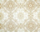 Vintage Wallpaper by the Yard 70s Retro Wallpaper - 1970s Tan and Gold Geometric on White