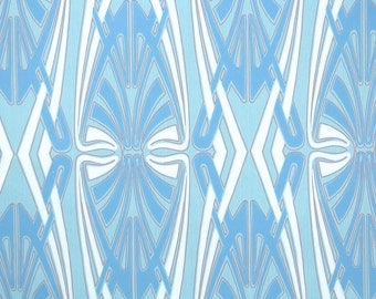 Retro Wallpaper by the Yard 70s Vintage Wallpaper – 1970s Blue and White Mod Geometric