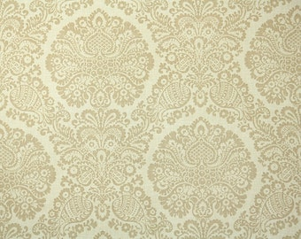 Retro Wallpaper by the Yard 70s Vintage Wallpaper - 1970s Tan and Beige Neutral Damask