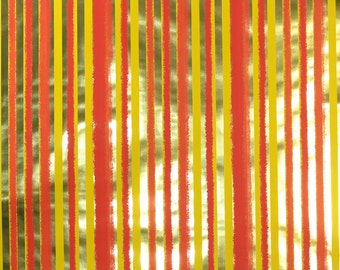 Retro Wallpaper by the Yard 70s Vintage Mylar Wallpaper – 1970s Gold Orange and Yellow Striped Mylar