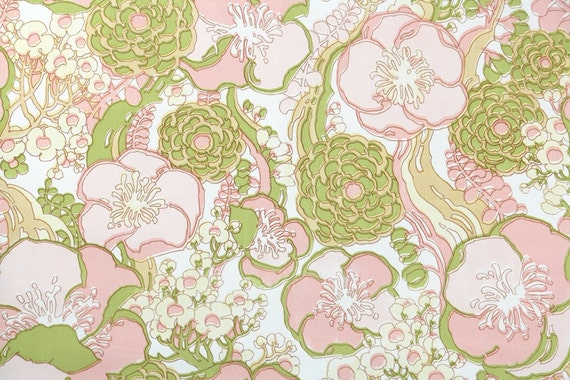 Retro Wallpaper by the Yard 70s Vintage Wallpaper - 1970s Vinyl Pink and Green Flowers on White