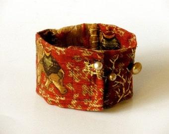 Fabric cuff bracelet red embellished elephant fabric