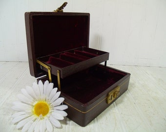 Vintage Reptile Textured Cordovan Leatherette Jewelry Box with Gold Tooling Trim Small Display Case - Shabby Chic Burgundy Velvet Interior