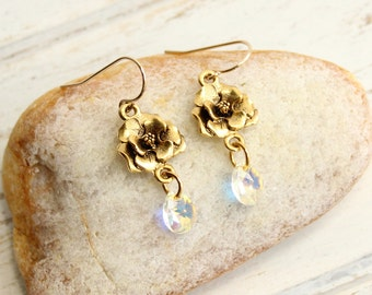 Rose Earrings in Gold with Crystal Drops on Gold Filled Hooks
