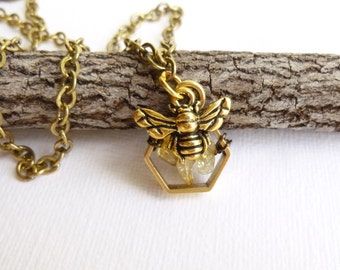 Honeycomb Bee Necklace in Antiqued Gold... Choices for Free Form Gemstone Chips