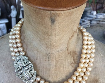 1920s Art deco paste and pearl choker