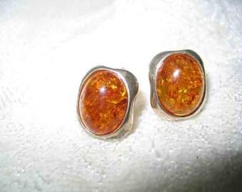 Vintage Honey Baltic Amber Sterling Earrings Pierced Post