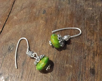 Flying Green Saucer Earrings