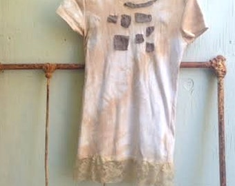 SALE funky mocha latte tan hand dyed linen brown applique brand new rustic soft boho gypsy tee shirt