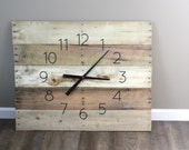 """Large FARMHOUSE Clock Rectangular. 36"""" by 26"""" Rustic yet Modern  Natural, Raw, Reclaimed Wood.  Wall Clock. 5 Year Anniversary Gift"""