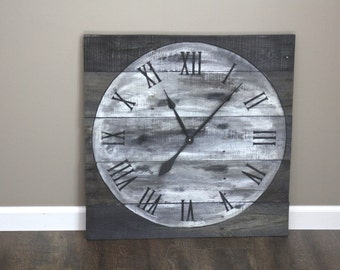 "Large Wall Clock, Reclaimed Gray Wood.26"" by 26"". Rustic   FULL MOON. White, distressed, circle face. Repurposed Wood."