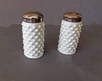 Vintage Salt and Pepper Shaker, White Milkglass with Hobnail, Kitchen Decor, Kitchen Utensils, Serving Utensils, Serving Dishes,  Decor