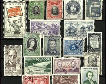World Postage Stamps, Old Stamps For Scrapbooking Decoupage Crafts
