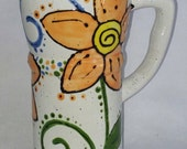 Eco Friendly Ceramic Travel Mug w/lid - Ornage flowers, dots, swirls