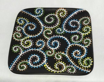 Ceramic Square Plate Matte Black with swirls and dots Colorful