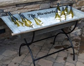 Personalized Vintage Wine Trough - galvanized European beverage trough with custom metal stand