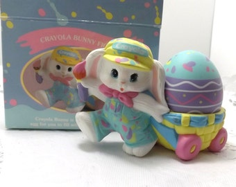 1990 Crayola Bunny Figurines, Hallmark hard rubber Easter bunny wagon egg decor  in original box