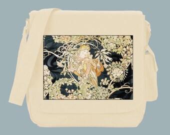 Vienna Illustration by Alfonse Mucha Messenger Bag, 15x11x4, Black or Natural
