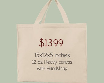 Any Image on 15x12x5 12 oz Canvas with webbed cotton hand strap
