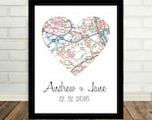 Queens NY Map Heart Queens Print Queens Art  ANY CITY Worldwide Valentines Day Gift Holiday Gift Christmas Gift for Him Gift Under 20