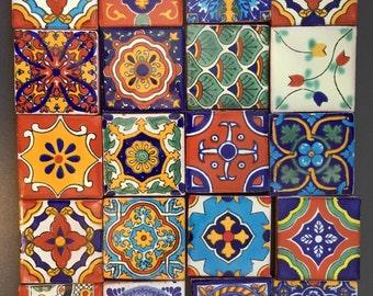 "Mexican Talavera Tiles Fridge Magnets 2""x2""  (set of 3)"