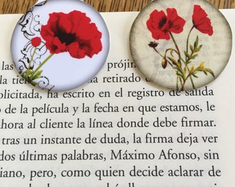 Magnetic bookmarks (3)red poppies Free Shipping set of 3