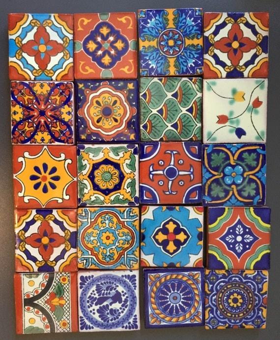"Mexican Talavera Fridge Magnets 2""x2""  (set of 3)"