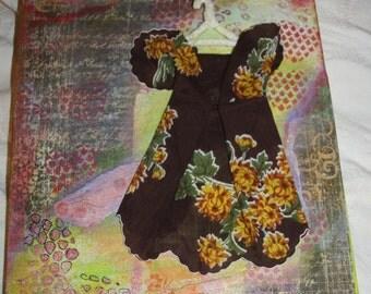 Vintage Hanky Dress * Mixed Media* Canvas*