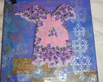 Vintage Hanky Dress * Mixed Media* Painting on Canvas