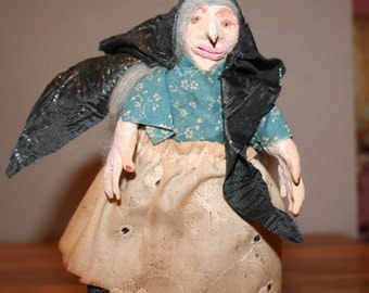 OLD CRONE WOMAN *art doll* minature 6""