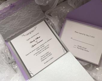 Elegant lace lavender wedding invitation suite