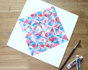 OOPS! Tiny Tear Prism Print in pink, orange and blue