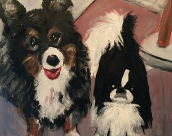 His Two Precius Pooches Original Oil Painting by Marlene Kurland  16 x 20