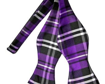 Men's Plaid Black Purple White Self-Tie Bowtie, for Formal Occasions 2012