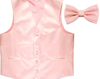 Men's Solid Pink Polyester Vest with Pre-Tied Bowtie, for Formal Occasions