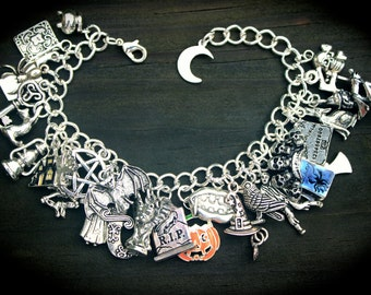 Halloween Theme Charm Bracelet - Witch - Vampires - Jack O Lantern - Haunted - Gargoyle - Trick or Treat - All Hallows Eve - Spooky - Magic