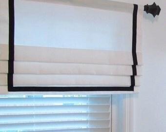Custom Made Lined Mock Valance Ribbon Banded Faux Roman Shade Ribbon Trim Curtains