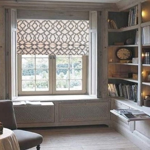 Lined Faux Roman Shade Grey/ Natural Geometric Trellis Mock Roman ...